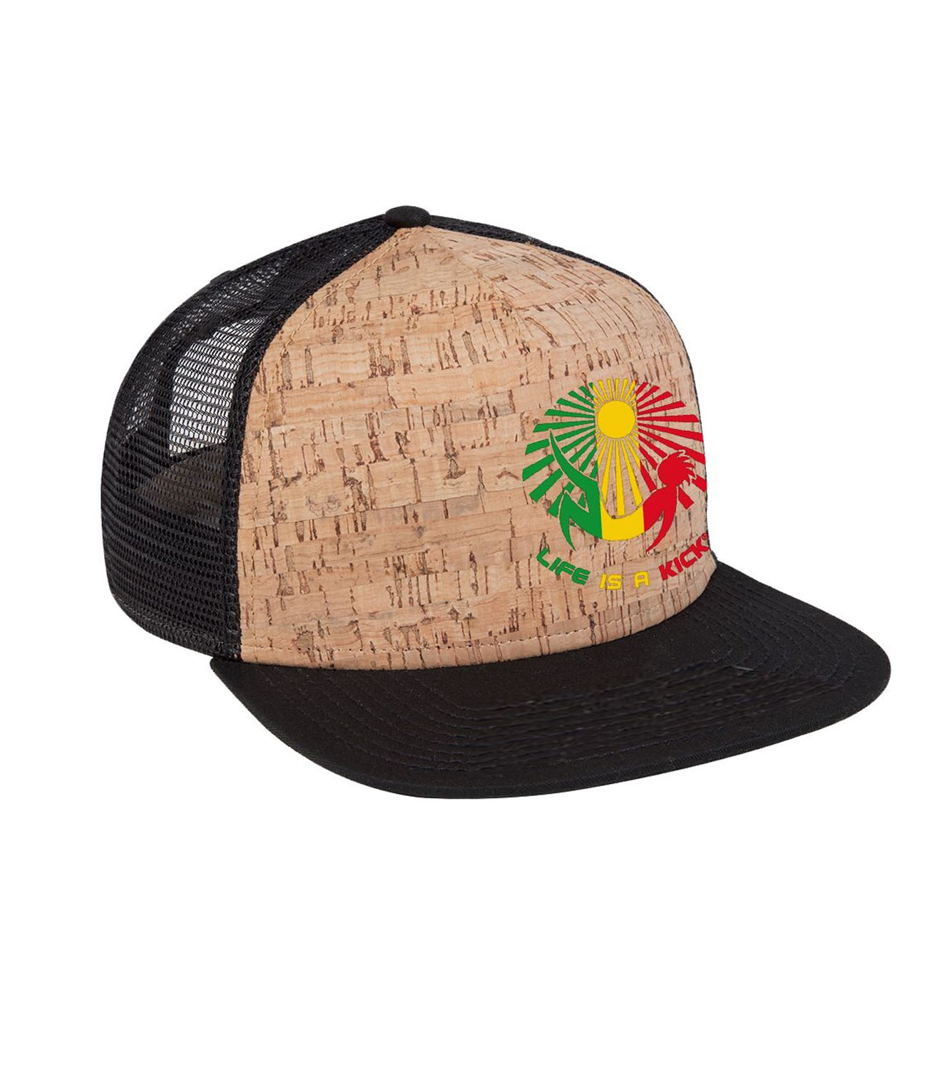 "76303e741 Rasta"" Trucker Hat – Cork/Black « Life is a Kick"